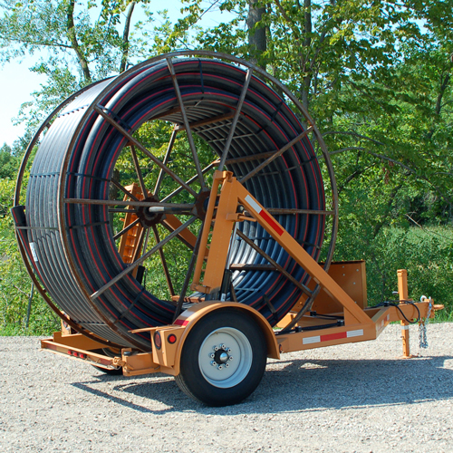 Automatic electric utility cable reel trailer